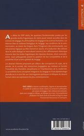 Les théories du langage au XX siècle de la biologie à la dialectique - 4ème de couverture - Format classique