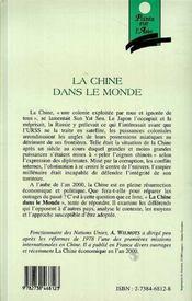 La Chine Dans Le Monde ; Les Conflits Et Differends, Le Contexte Et Les Moyens - 4ème de couverture - Format classique