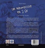 Naturaliste En 2 Cv (Un) Carnet De Route - 4ème de couverture - Format classique