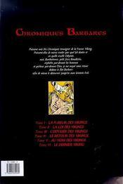 Chroniques barbares t.6 ; le dernier viking - 4ème de couverture - Format classique