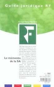 Memento De La S.A ; Regime Juridique. Fiscal & Social - 4ème de couverture - Format classique
