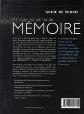 Maîtriser vos pertes de mémoire - 4ème de couverture - Format classique
