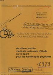 Deuxieme Journee Medicale Nationale D'Etude Sur Le Sport Pour Les Handicapes Physique - Couverture - Format classique
