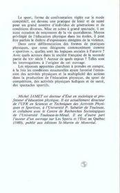 Sport Dans La Societe. Entre Raison Et Passion - 4ème de couverture - Format classique