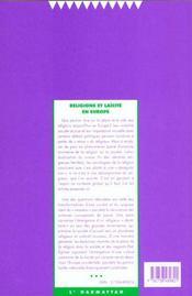 Societes Contemporaines N.37 ; Religions Et Laïcité En Europe - 4ème de couverture - Format classique