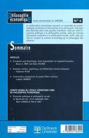 Revue De Philosophie Economique T.4 - 4ème de couverture - Format classique