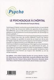 Le psychologue à l'hôpital - 4ème de couverture - Format classique