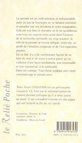 Pensee Comme Voie D'Eveil (La) - 4ème de couverture - Format classique