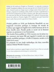 Prelude The Garden Party By Katherine Mansfield - 4ème de couverture - Format classique