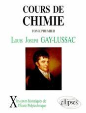 Cours De Chimie Tome 1 - Couverture - Format classique