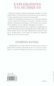 Explorations talmudiques - 4ème de couverture - Format classique