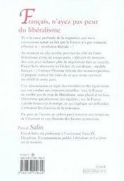 Français, n'ayez pas peur du libéralisme - 4ème de couverture - Format classique
