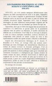 Les Passions Politiques Au Chili Durant L'Unite Populaire, 1970-1973 - 4ème de couverture - Format classique