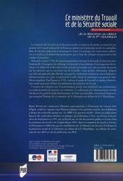Ministère du travail et de la sécurité sociale ; de la libération au début de la ve république - 4ème de couverture - Format classique