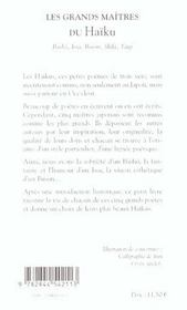 Les grands maitres du haikus - 4ème de couverture - Format classique