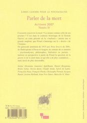 Libres Cahiers Pour La Psychanalyse T.16 ; Parler De La Mort - 4ème de couverture - Format classique