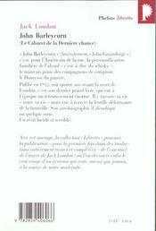 John Barleycorn ; le cabaret de la derniere chance - 4ème de couverture - Format classique
