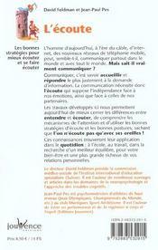 Ecoute (l') n.6 - 4ème de couverture - Format classique