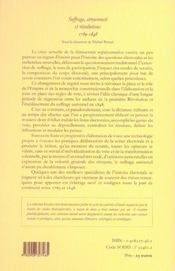 Suffrage, citoyenneté et révolution, 1789-1848 - 4ème de couverture - Format classique