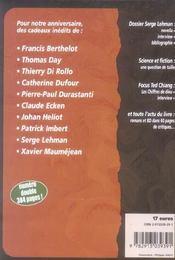 Revue Bifrost N.42 ; Dossier Serge Lehman ; 10 Auteurs Soufflent Nos 10 Bougies - 4ème de couverture - Format classique