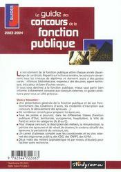 Le guide des concours de la fonction publique (édition 2003-2004) - 4ème de couverture - Format classique
