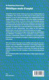 Dietetique mode d'emploi - 4ème de couverture - Format classique