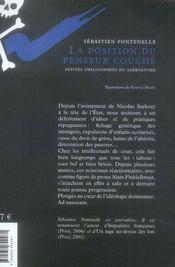 La position du penseur couché ; petites philosophies du sarkozysme - 4ème de couverture - Format classique