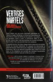 Vertiges mortels - 4ème de couverture - Format classique