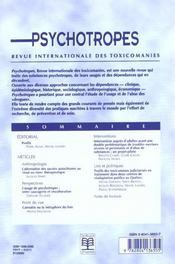 Revue Psychotropes N.7/1 ; Profils - 4ème de couverture - Format classique