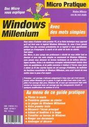 Windows millenium - 4ème de couverture - Format classique