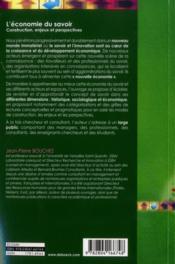 L'économie du savoir ; construction, enjeux et perspectives - 4ème de couverture - Format classique