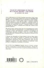 Villes Et Cimetieres En France De L'Ancien Regime A Nos Jours ; Le Territoire Des Morts - 4ème de couverture - Format classique