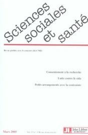 Revue Sciences Sociales Et Sante N.23 ; Consentement A La Recherche ; Lutte Contre Le Sida ; Petits Arrangements Avec La Contrainte (édition 2005) - Intérieur - Format classique