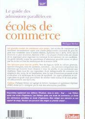 Le Guide Des Admissions Paralleles En Ecoles De Commerce - 4ème de couverture - Format classique