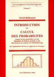 Introduction au calcul des probabilites techniques statistiques vol 2 - Couverture - Format classique