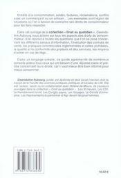 Droits Du Consommateur - 4ème de couverture - Format classique