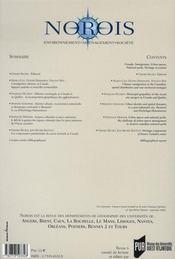 Revue Norois T.199 ; Canada. Immigration, Espaces Urbanisés, Parcs Nationaux, Loisir Patrimonial - 4ème de couverture - Format classique