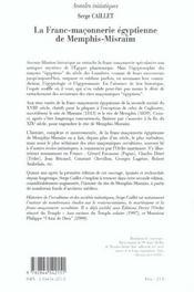 La Franc-Maconnerie Egyptienne De Memphis - 4ème de couverture - Format classique