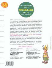 Enrichissons notre vocabulaire par les mots croisés ; 10/12 ans - 4ème de couverture - Format classique