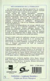 Metamorphoses De La Formation : Alternance, Partenariat, Developpement Local - 4ème de couverture - Format classique