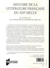 Histoire de la littérature française du xix siècle - 4ème de couverture - Format classique