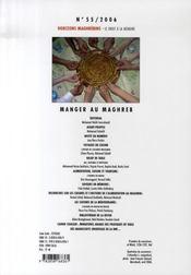 Revue Horizons Maghrebins N.55 ; Manger Au Maghreb - 4ème de couverture - Format classique