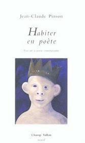 Habiter En Poete ; Essai Sur La Poesie Contemporaine - Intérieur - Format classique