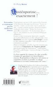 Osteoporose...exactement (l') nouvelle edition - 4ème de couverture - Format classique