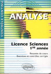 Controle Continu ; Analyse ; Licence Sciences 1ère Année - Couverture - Format classique