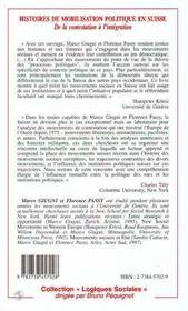 Histoires De Mobilisation Politique En Suisse ; De La Contestation A L'Integration - 4ème de couverture - Format classique