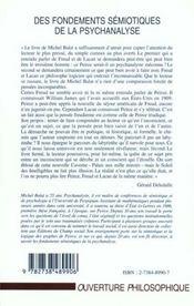 Des Fondements Semiotiques De La Psychanalyse ; Peirce Apres Freud Et Lacan ; Logique Des Mathematiques De C-S Peirce - 4ème de couverture - Format classique