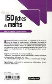 150 fiches de maths (3e édition) - 4ème de couverture - Format classique