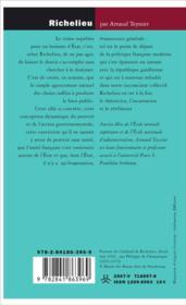 Richelieu ; la puissance de gouverner - 4ème de couverture - Format classique