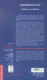 Grammaticalite : Traditions Et Modernites - 4ème de couverture - Format classique